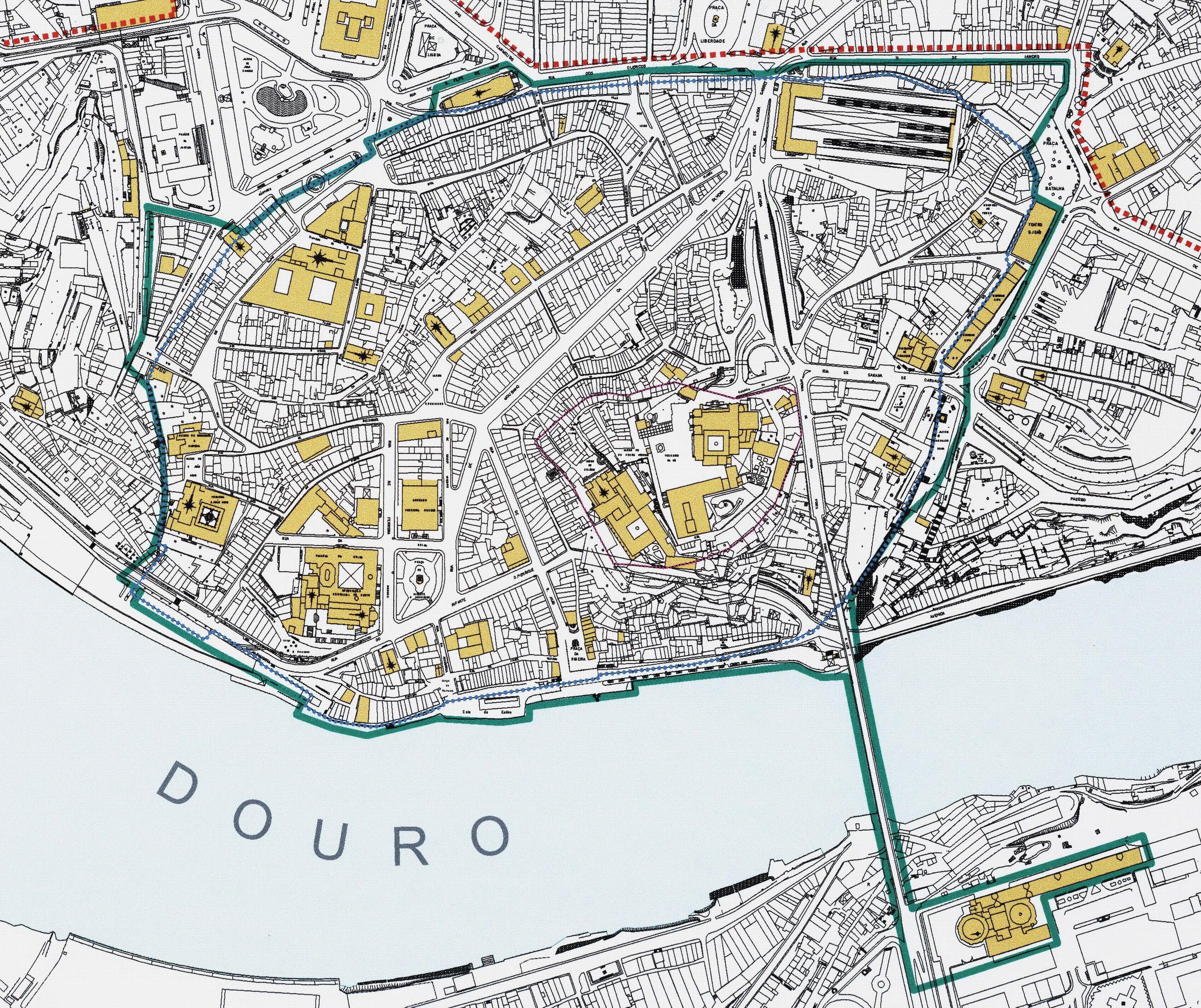 ribeira porto mapa Planta area classificada   Centro Histórico do Porto Património  ribeira porto mapa